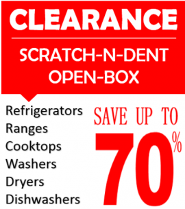 Clearance Scratch and Dent Appliance Sale